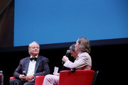 Bill Murray (L) and Wes Anderson (R) attend the masterclass during the 14th Rome Film Festival on October 19, 2019 in Rome, Italy.