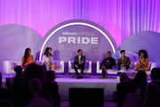 """(L-R) Mj Rodriguez, Hailie Sahar, Jayce Baron, Dyllón Burnside, Angel Bismark Curiel and Indya Moore speak onstage at the """"Televised Revolution: The Beings of 'Pose'"""" during the Billboard And The Hollywood Reporter Pride Summit on August 08, 2019 in West Hollywood, California."""