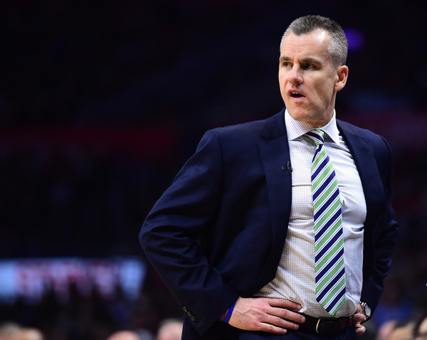 Oklahoma City Thunder v Los Angeles Clippers [photograph,businessperson,suit,official,event,speech,public speaking,orator,white-collar worker,coach,spokesperson,user,billy donovan,user,note,terms,los angeles,oklahoma city thunder,los angeles clippers,game]
