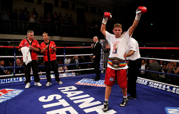 Billy Joe Saunders celebrates his victory over Jarrod Fletcher during the Commonwealth Middleweight Championship bout between Billy Joe Saunders of England and Jarrod Fletcher of Australia at York Hall on September 14, 2012 in London, England.