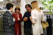 (L-R) Actor Alex Sharp, American Vogue, editor-in-chief, Anna Wintour, fashion designer Billy Reid and American Vogue fashion market and accessories director Virginia Smith attend the celebration for Tony nominee Alex Sharp on May 20, 2015 in New York City.