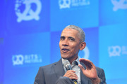 "Former U.S. President Barack Obama speaks at the opening of the Bits & Pretzels meetup on September 29, 2019 in Munich, Germany. The annual event brings together founders and startups from across the globe for three days of networking, talks and inspiration. during the ""Bits & Pretzels Founders Festival"" at ICM Munich on September 29, 2019 in Munich, Germany. Bits & Pretzels is an application-only, three-day festival that connects 5,000 founders, investors, startup enthusiasts,taking place from September 29 to October 1, 2019."