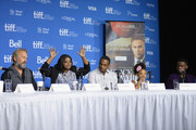 "(L-R) Actor Kevin Costner, actress Octavia Spencer, actor Anthony Mackie, actress Jillian Estell  and actor Mpho Koaho speak onstage at ""Black And White"" Press Conference during the 2014 Toronto International Film Festival at TIFF Bell Lightbox on September 7, 2014 in Toronto, Canada."