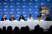 "(L-R) Director Mike Binder, actor Kevin Costner, actress Octavia Spencer, actor Anthony Mackie, actress Jillian Estell  and actor Mpho Koaho speak onstage at ""Black And White"" Press Conference during the 2014 Toronto International Film Festival at TIFF Bell Lightbox on September 7, 2014 in Toronto, Canada."