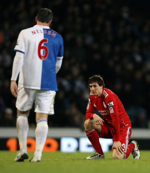 Fernando Torres of Liverpool dejected during a Barclays Premier league match betweem Blackburn Rovers and Liverpool at Ewood park on January 5, 2011 in Blackburn, England.