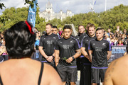 All Blacks arrive to a traditional Maori welcome at the Haka 360 Experience Launch Event at Oxo Tower Wharf South Wharf on September 12, 2015 in London, England. The Haka 360 Experience is an app which uses 360 degree video technology to give the viewer the feeling of being on the field with the All Blacks and in the midst of the powerful Maori ritual. The app is available via aig.com/haka360, on the App Store and Google Play.