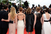 (L-R) Actor Israel Broussard, actresses Claire Julien and Emma Watson, director Sofia Coppola and actresses Taissa Farmiga and Katie Chang attend The 66th Annual Cannes Film Festival at the Palais des Festivals on May 16, 2013 in Cannes, France.