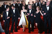 Director Guillaume Canet, actors Clive Owen, Marion Cotillard, James Caan, Lily Taylor and Noah Emmerich  depart the 'Blood Ties' Premiere during the 66th Annual Cannes Film Festival at the Palais des Festivals on May 20, 2013 in Cannes, France.