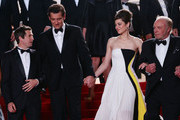 Director Guillaume Canet and actors Clive Owen, Marion Cotillard and James Caan depart the 'Blood Ties' Premiere during the 66th Annual Cannes Film Festival at the Palais des Festivals on May 20, 2013 in Cannes, France.