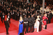 """(Right to Left) Producer Alex Orlovsky,director Derek Cianfrance,producer Jamie Patricof,actress Faith Wladyka, actor Ryan Gosling, actress Michelle Williams,producer Lynette Howell attends the """"Blue Valentine"""" Premiere at the Palais des Festivals during the 63rd Annual Cannes Film Festival on May 18, 2010 in Cannes, France."""