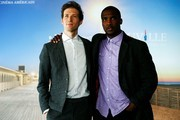 "US director and actor Daryl Wein (L) and US actor Jerod Haynes pose during a photocall for the film ""Blue print"" at the 43rd Deauville US Film Festival in the north-western sea resort of Deauville on September 6, 2017.. / AFP PHOTO / CHARLY TRIBALLEAU"