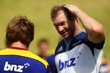 Ali Williams Andrew Hore Blues v Highlanders - Super Rugby Trial Match