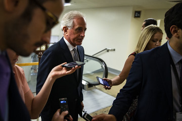 Bob Corker Senate Republicans And Democrats Deliver Remarks After Weekly Policy Luncheons