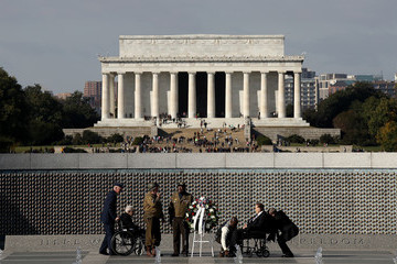 Bob Dole Wreath-Laying Ceremony Held At WWII Memorial In Washington DC On Veterans Day