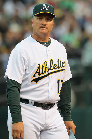 Bob Geren Oakland Athletics manager Bob Geren #17 looks on before the start of a game against the Seattle Mariners at the Oakland-Alameda County Coliseum on April 1, 2011 in Oakland, California