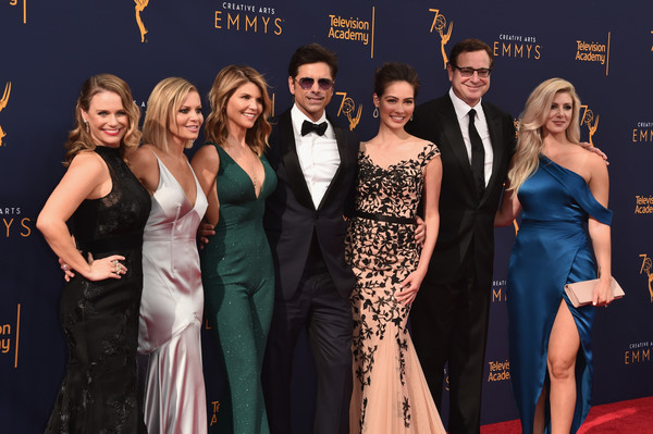 2018 Creative Arts Emmy Awards - Day 1 - Arrivals [event,carpet,premiere,dress,fashion,formal wear,red carpet,flooring,gown,competition,arrivals,actors,lori loughlin,caitlin mchugh,john stamos,andrea barber,candace cameron bure,kelly rizzo,l-r,creative arts emmy awards]