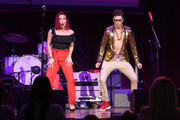 Sharna Burgess and Bobby Bones perform at the Bobby Bones And The Raging Idiots 4th Annual Million Dollar Show at Ryman Auditorium on January 14, 2019 in Nashville, Tennessee.