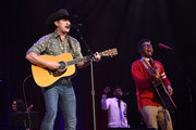 Jon Pardi and Bobby Bones perform at the Bobby Bones And The Raging Idiots 4th Annual Million Dollar Show at Ryman Auditorium on January 14, 2019 in Nashville, Tennessee.