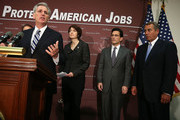 U.S. House Majority Whip Rep. Kevin McCarthy (R-CA) (L) speaks as Speaker of the House Rep. John Boehner (R-OH) (R), House Majority Leader Rep. Eric Cantor (R-VA) (3rd L), and Rep. Cathy McMorris Rodgers (R-WA) (2nd L) listen during a news conference after a House Republican conference meeting December 5, 2012 on Capitol Hill in Washington, DC. The House Republican leadership held a news conference to discuss its negotiations with the White House on the fiscal cliff issue.