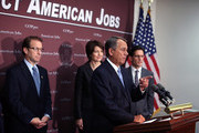 U.S. Speaker of the House Rep. John Boehner (R-OH) (3rd L) takes questions as Rep. Peter Roskam (R-IL) (L), House Majority Leader Rep. Eric Cantor (R-VA) (R), and Rep. Cathy McMorris Rodgers (R-WA) (2nd L) look on during a news conference after a House Republican conference meeting December 5, 2012 on Capitol Hill in Washington, DC. The House Republican leadership held a news conference to discuss its negotiations with the White House on the fiscal cliff issue.