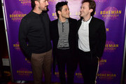 Gwilym Lee, Rami Malek and Joseph Mazzello attend the Boston red carpet screening of 'Bohemian Rhapsody,' the film about the rock band Queen and its lead singer Freddie Mercury, at AMC Boston Common on October 1, 2018 in Boston, Massachusetts.
