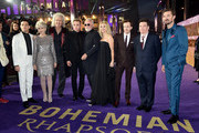 (L-R) Rami Malek, Anita Dobson, Brian May, Ben Hardy, Roger Taylor, Sarina Potgieter, Joe Mazzello, Mike Myers and  Gwilym Lee attend the World Premiere of 'Bohemian Rhapsody' at SSE Arena Wembley on October 23, 2018 in London, England.