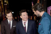 (L-R) Joe Mazzello, Mike Myers and Gwilym Lee attend the World Premiere of 'Bohemian Rhapsody' at SSE Arena Wembley on October 23, 2018 in London, England.