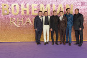 (L-R) Mike Myers, Rami Malek, Ben Hardy, Joe Mazzello, Gwilym Lee and Graham King attend the World Premiere of 'Bohemian Rhapsody' at SSE Arena Wembley on October 23, 2018 in London, England.