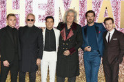 (L-R) Ben Hardy, Roger Taylor, Rami Malek, Brian May, Gwilym Lee and Joe Mazzello attend the World Premiere of 'Bohemian Rhapsody' at SSE Arena Wembley on October 23, 2018 in London, England.