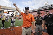 Head Coach Mike Gundy of the Oklahoma State Cowboys leaves the field after the game against the Boise State Broncos at Boone Pickens Stadium on September 15, 2018 in Stillwater, Oklahoma. The Cowboys defeated the Broncos 44-21.