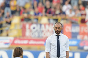 Marco Di Vaio forme player and Team Manager of Bologna FC ( C ) looks on during the warm up before the beginiing of the Serie B play-off final match between Bologna FC and Pescara Calcio at Stadio Renato Dall'Ara on June 9, 2015 in Bologna, Italy.
