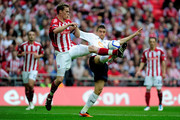Ryan Shawcross of Stoke competes Ivan Klasnic of Bolton with during the FA Cup sponsored by E.ON semi final match between Bolton Wanderers and Stoke City at Wembley Stadium on April 17, 2011 in London, England.