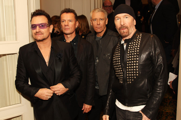 Bono (UK TABLOID NEWSPAPERS OUT) L-R Bono, Larry Mullen Jr, Adam Clayton and The Edge of U2 attend The 2011 Q Awards at The Grosvenor House Hotel on October 24, 2011 in London, United Kingdom.