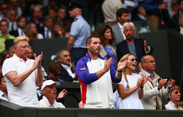 Day Thirteen: The Championships - Wimbledon 2015 [the gentlemens singles,people,event,audience,product,youth,crowd,championship,competition,recreation,gesture,watch,boris becker,edoardo artaldi,jelena djokovic,milan amanovic,novak djokovic,wimbledon,championships,final]