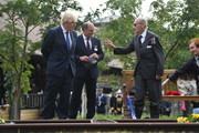 British Prime Minister Boris Johnson and Defence Secretary Ben Wallace attend a national service of remembrance, marking the 75th anniversary of VJ Day, at the National Memorial Arboretum on August 15, 2020 Stafford, United Kingdom. Today marks the 75th anniversary of Japan's surrender to the allied forces, bringing the hostilities of World War II to an end.