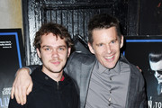 "Ellar Coltrane and Ethan Hawke attend the ""Born To Be Blue"" New York Screening at Blue Note Jazz Club on March 24, 2016 in New York City."