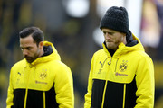 (L-R) Gonzalo Castro and Andre Schuerrle of Dortmund are seen prior to  the Bundesliga match between Borussia Dortmund and FC Schalke 04 at Signal Iduna Park on November 25, 2017 in Dortmund, Germany.