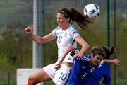 Jill Scott (L) of England jump for the ball against Amira Spahic (R) of Bosnia during the UEFA Women's European Championship Qualifier match between Bosnia and Herzegovina and England at FF BIH Football Training Centre on April 12, 2016 in Zenica, Bosnia and Herzegovina.