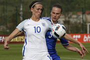 Jill Scott (L) of England in action against Milena Nikolic (R) of Bosnia during the UEFA Women's European Championship Qualifier at FF BIH Football Training Centre on April 12, 2016 in Zenica, Bosnia and Herzegovina.