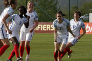 Karen Carney (C) of England celebrates with her team-mates Fran Kirby (R) and (L-R) Jill Scott, Eniola Aluko and Gemma Davison after scoring the winning goal during the UEFA Women's European Championship Qualifier match between Bosnia and Herzegovina and England at FF BIH Football Training Centre on April 12, 2016 in Zenica, Bosnia and Herzegovina.