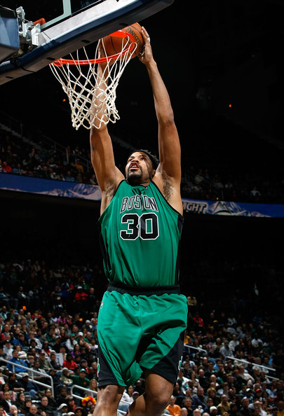 Rasheed Wallace #30 of the Boston Celtics dunks against the Atlanta Hawks at