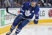 Tyler Bozak #42 of the Toronto Maple Leafs gets set to play against the Boston Bruins in Game Three of the Eastern Conference First Round during the 2018 Stanley Cup Play-offs at the Air Canada Centre on April 16, 2018 in Toronto, Ontario, Canada. The Maple Leafs defeated the Bruins 4-2. (Photo by Claus Andersen/Getty Images) *** Local Caption *** Tyler Bozak