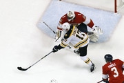 Goaltender Roberto Luongo #1 of the Florida Panthers stops a shot by Ryan Donato #17 of the Boston Bruins at the BB&T Center on April 5, 2018 in Sunrise, Florida. The Panthers defeated the Bruins 3-2. (Photo by Joel Auerbach/Getty Images) *** Local Caption *** Ryan Donato;Roberto Luongo