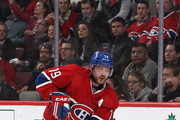 Andrei Markov #79 of the Montreal Canadiens skates with the puck against the Boston Bruins in Game Four of the Second Round of the 2014 NHL Stanley Cup Playoffs at the Bell Centre on May 8, 2014 in Montreal, Quebec, Canada.