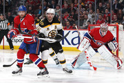 Carey Price #31 of the Montreal Canadiens guards his net as Andrei Markov #79 defends against David Krejci #46 of the Boston Bruins in Game Three of the Second Round of the 2014 NHL Stanley Cup Playoffs at the Bell Centre on May 6, 2014 in Montreal, Quebec, Canada.
