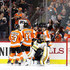 Anton Khudobin Photos - Claude Giroux #28 of the Philadelphia Flyers celebrates with teammates after scoring a first period goal on goalie Anton Khudobin #35 of the Boston Bruins at Wells Fargo Center on April 1, 2018 in Philadelphia, Pennsylvania. - Boston Bruins vs. Philadelphia Flyers