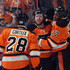 Claude Giroux Wayne Simmonds Photos - (l-r) Claude Giroux #28, Jakub Voracek #93 and Wayne Simmonds #17 of the Philadelphia Flyers celebrate Simmond's game tying goal at 10:10 of the third period against the Boston Bruins at the Wells Fargo Center on January 13, 2016 in Philadelphia, Pennsylvania. The Flyers defeated the Bruins 3-2. - Boston Bruins v Philadelphia Flyers