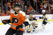 Claude Giroux #28 of the Philadelphia Flyers celebrates after scoring the game winning overtime goal against the Boston Bruins during the Flyers 4-3 win at Wells Fargo Center on April 1, 2018 in Philadelphia, Pennsylvania.