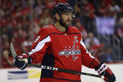 Alex Ovechkin #8 of the Washington Capitals in action against the Boston Bruins at Capital One Arena on October 3, 2018 in Washington, DC.