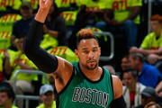 Jared Sullinger #7 of the Boston Celtics reacts after hitting a three-point basket against the Atlanta Hawks in Game One of the Eastern Conference Quarterfinals during the 2016 NBA Playoffs at Philips Arena on April 16, 2016 in Atlanta, Georgia.  NOTE TO USER User expressly acknowledges and agrees that, by downloading and or using this photograph, user is consenting to the terms and conditions of the Getty Images License Agreement.